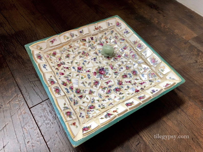 Lucky Frog Mosaic Tile Bowl of Vintage China Turquoise Wood image 0
