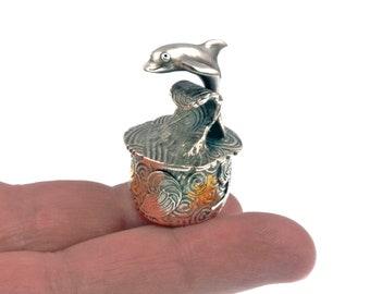 Splash – Dolphin Silver Tiny Treasure Box Tooth Fairy, Unique, Handmade