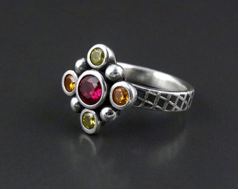 Autumnus - medieval cluster ring silver handmade