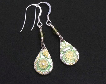 Lemon and Lime drops Silver and Enamel Earrings. Handmade. Sterling Silver Ear Wires