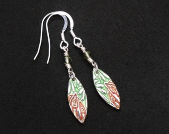 Red Green Marquise with Peridot Silver and Enamel Earrings. Handmade. Sterling Silver Ear Wires
