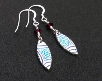 Zany Blues Silver and Enamel Earrings. Handmade. Sterling Silver Ear Wires