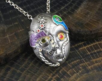 Silver and Enamel alien mask pendant - Cybo Jalien - OOAK handmade