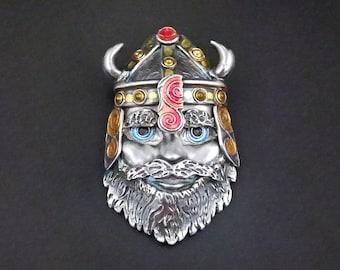 Silver and Enamel mask pendant - Eric the Viking - OOAK handmade