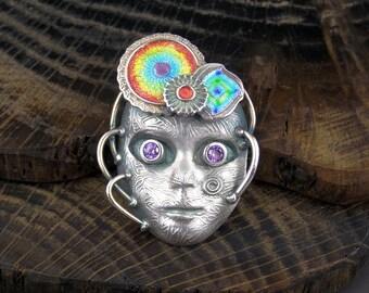 Silver and Enamel alien mask pendant - Robo Jalien - OOAK handmade