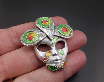 Silver and Enamel carnival mask pendant - Serenità - OOAK handmade