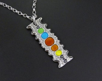 Rainbow Colour Bar pendant - handmade - on sterling silver chain - reversible