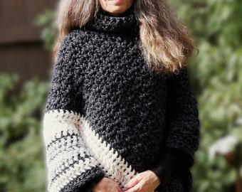 Crochet PATTERN Chunky Turtleneck Poncho / Ebony and Ivory Poncho
