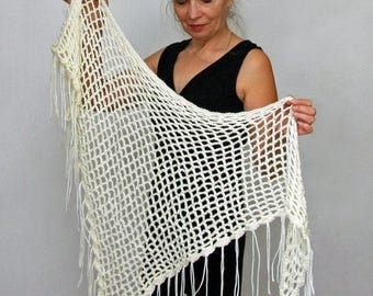 "Crochet PATTERN Mesh Shawl / Triangle Shawl Pattern / Lacey Shawl / Beginner Pattern / Made in Canada / ""Minimalist Mesh Shawl"""