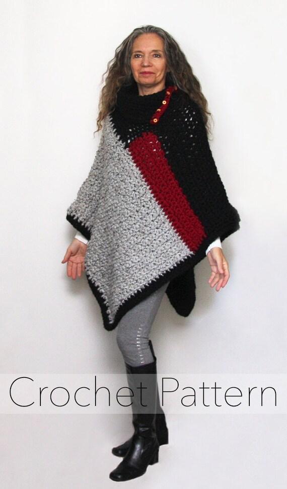 Crochet Crochet Poncho Pattern Womens Chunky Color Block Etsy