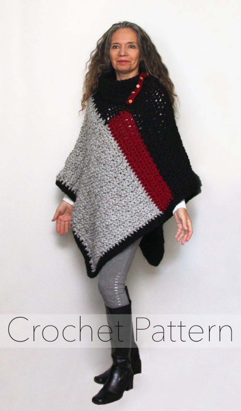 23e616173 Chunky Crochet Poncho PATTERN   Colour Block Baldwin Poncho