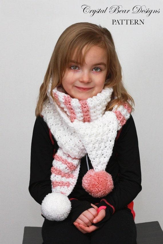 Pom Pom Scarf Crochet Pattern Kids Scarf Easy Crochet Etsy