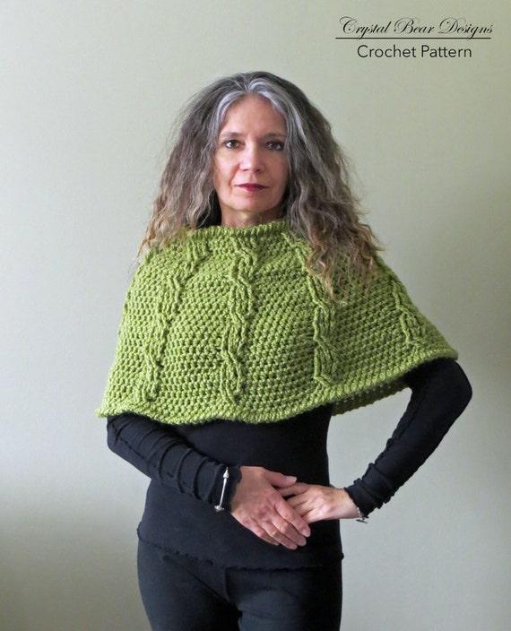 Crochet Capelet Pattern Shoulder Warmer Womens Poncho Etsy