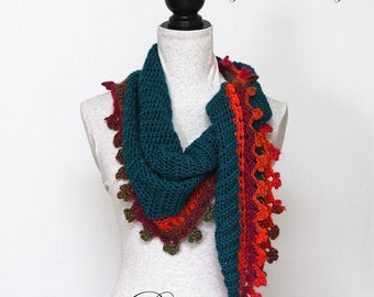 "Triangle Scarf CROCHET PATTERN / Baktus Scarf / Elongated Triangle / Shawlette / PDF / Made in Canada / ""Fire on Ice Baktus"""