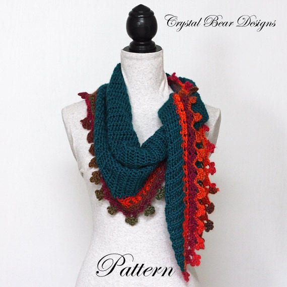 Triangle Scarf Crochet Pattern Baktus Scarf Elongated