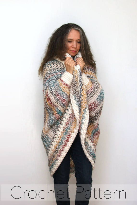 Easy Crochet Shrug Pattern Chunky Oversized Cardigan Sweater Etsy