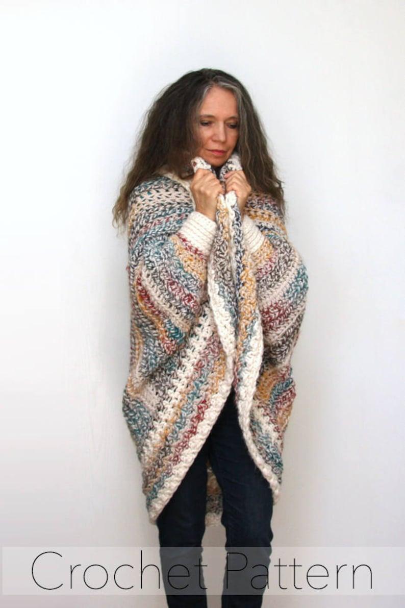 Easy Chunky Crochet Shrug PATTERN / Luxe Oversized Shrug / image 0