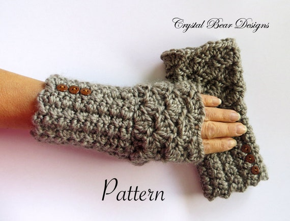 Fingerless Gloves Pattern Texting Mitts Crochet Gauntlets Etsy