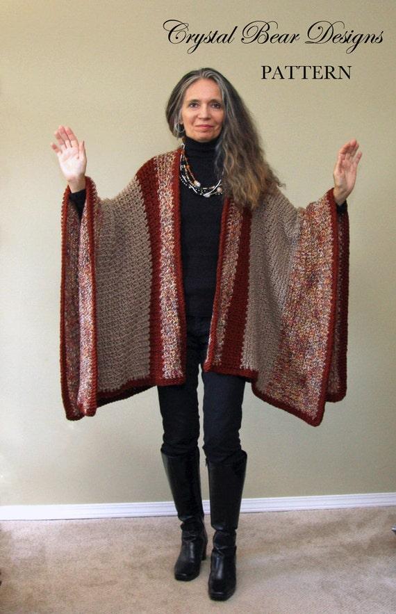 Crochet Ruana Blanket Poncho Pattern Easy Crochet Pattern Etsy