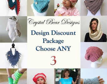 CROCHET PATTERN Discount Package /Pattern Bundle / Deal / Quantity Discount / Choose Any 3