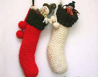 Crochet Christmas Stocking PATTERN, Xmas Stockings, Instant Download, Made in Canada