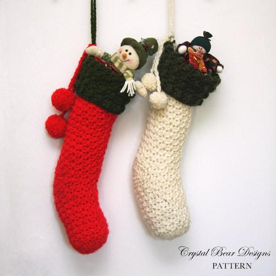 Crochet Christmas Stocking Pattern.Crochet Christmas Stocking Pattern Xmas Holiday Decor