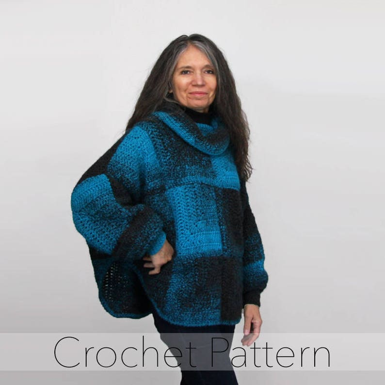 7a123921e Crochet Poncho with Sleeves PATTERN   Weekender Swoncho