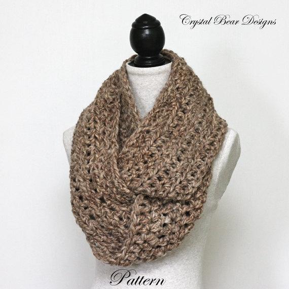 Crochet Pattern Simple Chunky Infinity Scarf Beginner Pdf Etsy