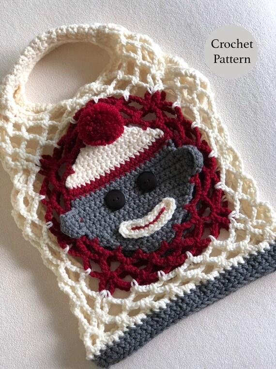 Crochet Sock Monkey Mesh Bag Pattern Childrens Gift Bag Etsy