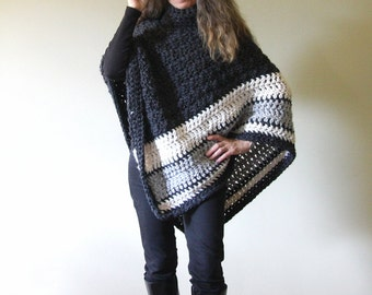 "Chunky Crochet Poncho PATTERN / Easy Crochet Pattern / Made in Canada / ""Ebony and Ivory Poncho"""