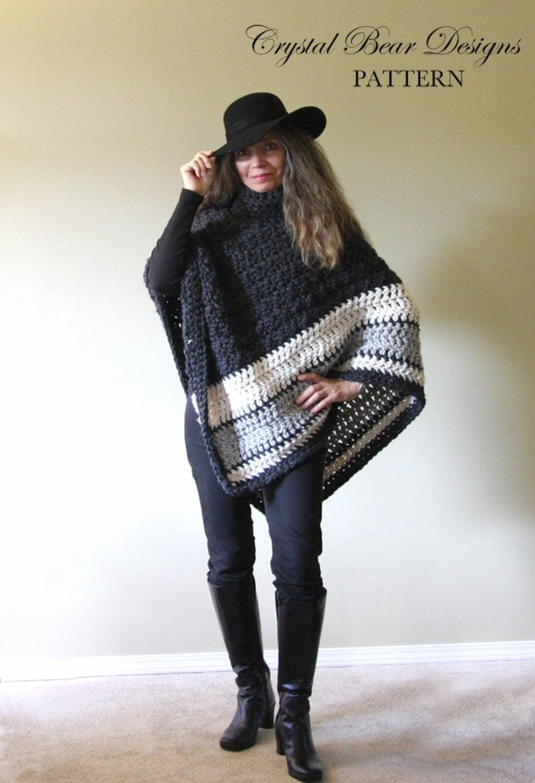 9c05e93eb Crochet PATTERN Chunky Turtleneck Poncho   Ebony and Ivory