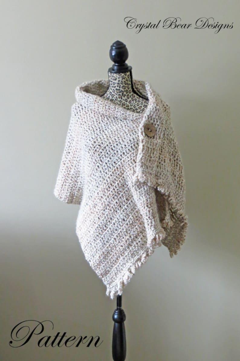 Easy Beginner Crochet Shawl Pattern Dresden Button Wrap Etsy