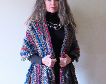 """Crochet Shawl PATTERN / Wrap with Buttons / PDF Download / Striped Shawl / Poncho / Made in Canada / """"Sequoia Wrap"""""""
