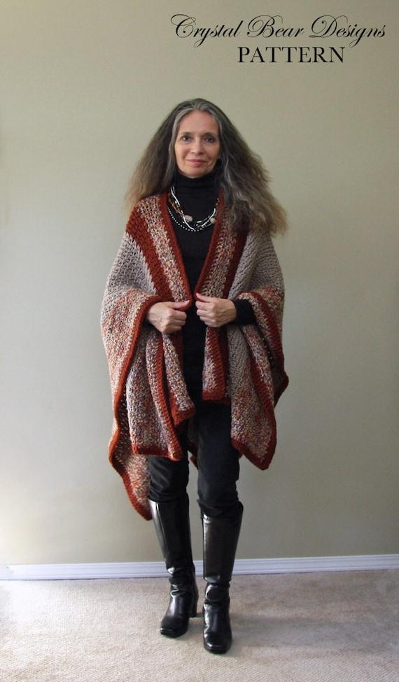 Crochet Ruana Blanket Poncho Pattern Blanket Wrap Easy Etsy