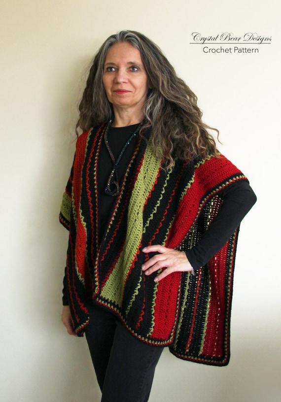 Crochet Ruana Poncho PATTERN Lightweight Blanket Wrap Etsy Cool Crochet Ruana Pattern