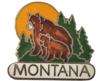 MONTANA STATE vintage enamel pin  wildlife bear and cub