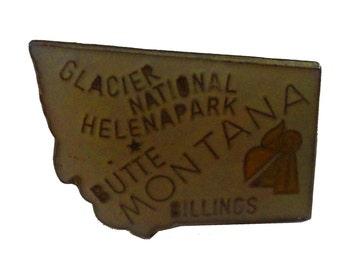 MONTANA State vintage lapel  enamel pin M Butte Helena Glacier National Park Billings