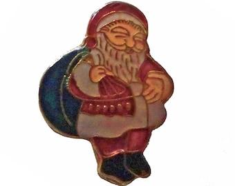 SANTA CLAUS vintage  pin xmas ornament holiday lapel christmas