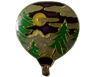HOT AiR BaLLOON vintage enamel pin lapel cloisonne badge forest night
