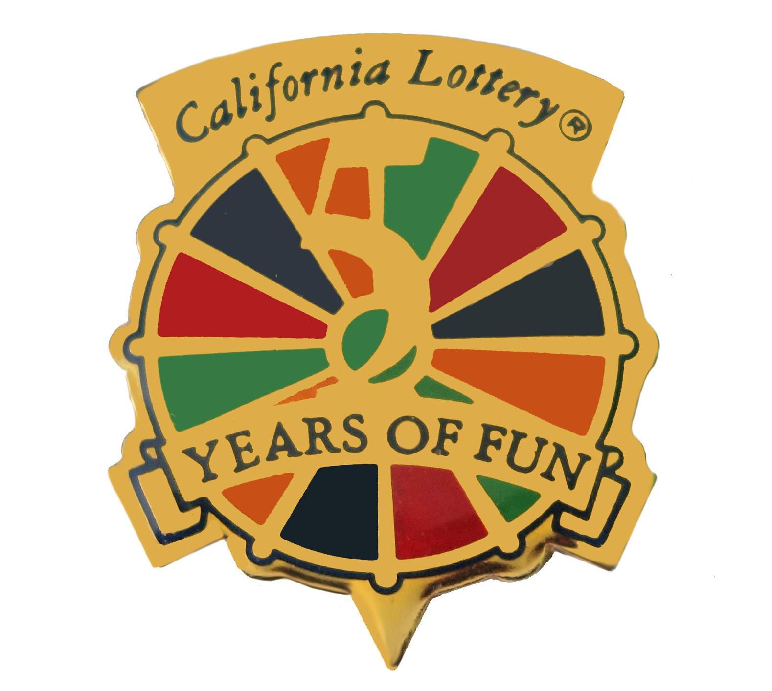 CALIFORNIA STATE LOTTERY vintage enamel pin lapel badge brooch gift