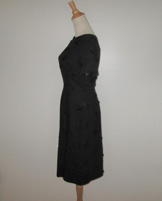 Vintage 1950s Black Moygashel Irish Linen Dress W… - image 3