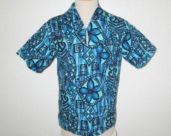 Vintage 1950s 1960s Hawaiian Shirt / 50s 60s Barkcloth Hawaiian Shirt / 50s 60s Abstract Barkcloth Hawaiian Shirt By Bradley J - Size M, L