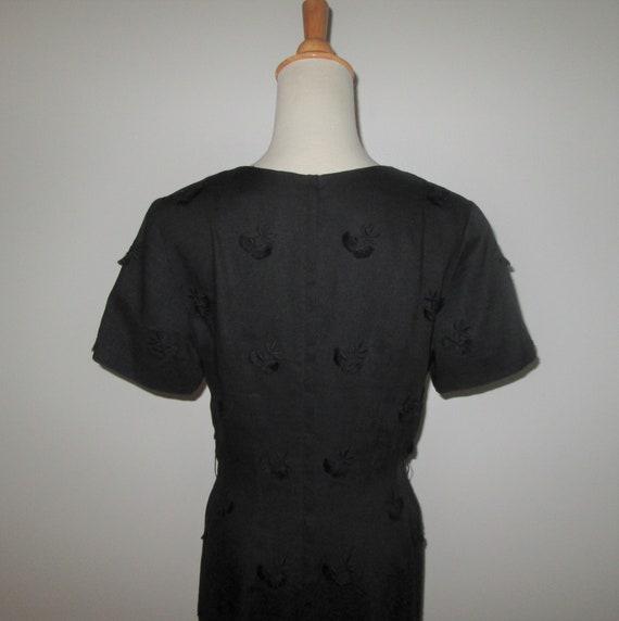 Vintage 1950s Black Moygashel Irish Linen Dress W… - image 5