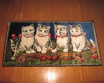 Vintage Cat Kitten Wall Hanging Rug - Made In Italy