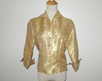 Vintage 1950s Gold  Metallic Blouse With Rhinestone Buttons By Malbe Original - Size M