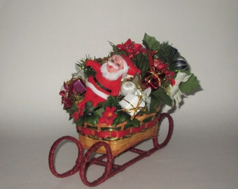 Vintage 1950s 1960s Christmas Centerpiece Tabletop Decoration - Santa, Sleigh & Gifts!
