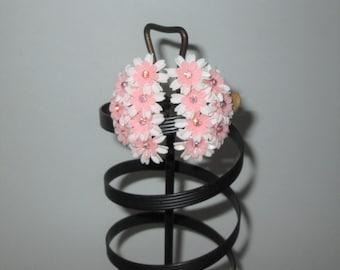 Vintage 1950s Pink Plastic Floral Earrings With Rhinestones