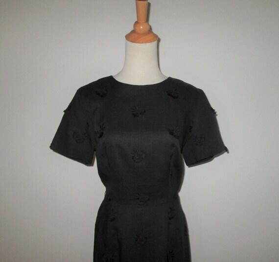Vintage 1950s Black Moygashel Irish Linen Dress W… - image 2