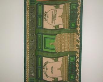 Vintage Irish Coffee Tea Towel - Green Linen