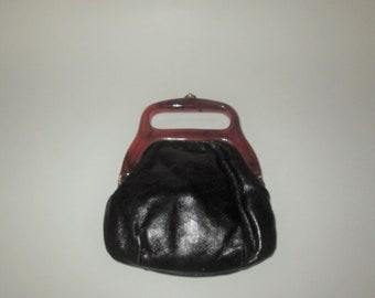 Vintage Black Faux Leather Lucite Purse Handbag